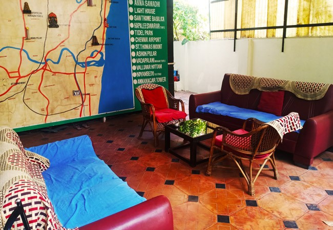 elements hostel guesthouse chennai outside sitting area